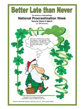 March Freebie:  Better Late than Never:  Procrastination Week