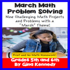 March Math Problem Solving Math Enrichment Menu: Common Co