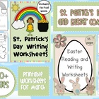 March Writing Worksheets COMBO St. Patrick's Day and Easte