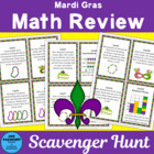 Mardi Gras Math Review Scavenger Hunt