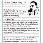 Martin Luther KIng, Jr Kindergarten Activities