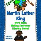 Martin Luther King: Word Work, Writing Sentences Literacy Packet