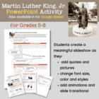 Martin Luther King PowerPoint Activity for Grades 5-8