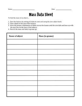 Mass Data Sheet