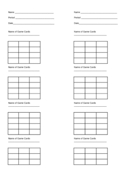 Matching Game Answer recording sheet