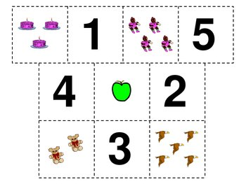 Matching Number Cards 1 to 5