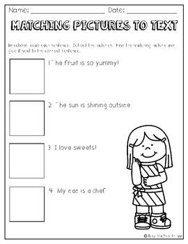 Matching Pictures to Text Worksheet Primary Grades