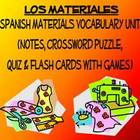 Materials Vocab Lists, Crossword, Games, & Quiz Unit (Los