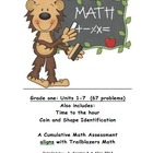 Math Assessment aligns with First Grade Trailblazers Units 1-6