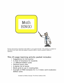 Math BINGO 25-page Packet--Practice Vocabulary and/or Find