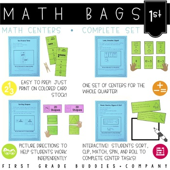 Math Bags for 1st Grade THE COMPLETE SET (30+ Common Core Aligned Math Centers)