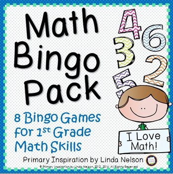 Math Bingo Bundle: 6 Games for Reviewing 1st Grade Math Skills