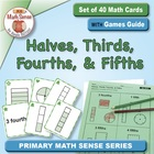 Math Card Activities for CCSS 2.G.3 Halves, Thirds, Fourth