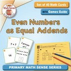 Math Card Activities for CCSS 2.OA.3 Even Numbers as Equal
