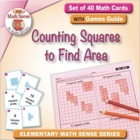 Math Card Activities for CCSS 3.MD.6 Counting Squares to F