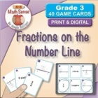 Math Card Activities for CCSS 3.NF.2 Fractions on the Number Line