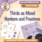 Math Card Activities for CCSS 4.NF.3b Mixed Numbers and Fr