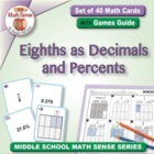 Math Card Activities for CCSS 6.RP.3 Eighths as Decimals a