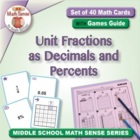 Math Card Activities for CCSS 6.RP.3 Unit Fractions as Dec