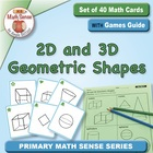 Math Card Activities for CCSS K.G.2 Two- and Three-Dimensi