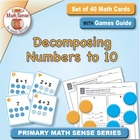 Math Card Activities for CCSS K.OA.3 Decomposing Numbers to 10