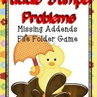 Math Center File Folder Game Missing Addends