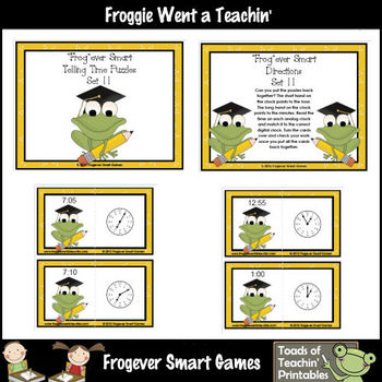 "Math Center -- ""Frog""ever Smart Telling Time Puzzles Set II"