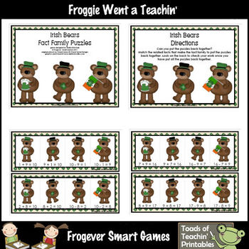 Math Center -- Irish Bears (fact families)