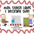 Math Center Labels and Recording Sheet, New Improved Version