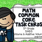 Math Common Core Task Cards 5th Grade CCSS 5.MD.5 Volume a