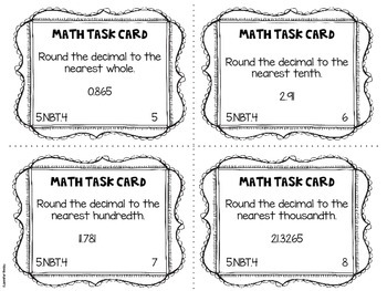 Math Common Core Task Cards 5th Grade CCSS 5.NBT.4