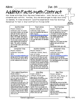 Math Contracts for Addition Facts {Homework to Master Math Facts}