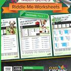 Math Decimals Worksheets - Math Riddles - 4th, 5th, 6th, 7
