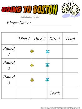Math Dice Game - Going to Boston - Addition or Multiplicat