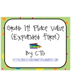 Math Differentiated Place Value Grab It! (Expanded Form) Center