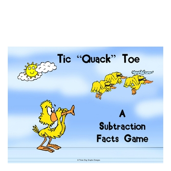 Math Duck Subtraction Facts File Folder Game Tic-Quack-Toe