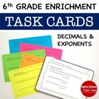 Math Enrichment Problems (Decimals and Exponents) - 6th Grade