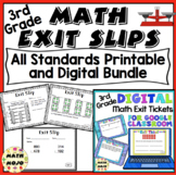 Math Exit Slips - 3rd Grade Common Core All Standards Mega Bundle