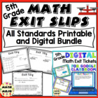 Math Exit Slips - 5th Grade Common Core All Standards Mega Bundle