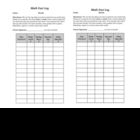 Math Fact Log Sheet
