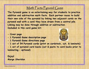 Math Facts Pyramid Game