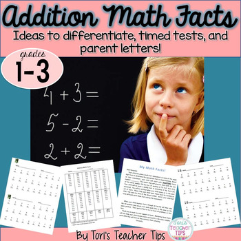 Math Facts- Timed Test and Parent Letters for Addition!