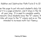 Math Facts for daily folder