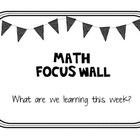 Math Focus Wall and Calendar - Polka Dot Bunting