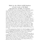 Math for Gifted Student &amp; GED Index