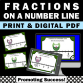 Fractions on a Number Line Math Task Cards 3rd Grade Commo