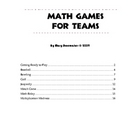 Math Games for Teams