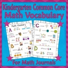 Math Glossary for Students (Kindergarten Common Core)