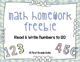 Math Homework Freebie: Read & Write Numbers to 120