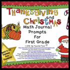 Math Journal Prompts for First Grade:  Thanksgiving and Ch